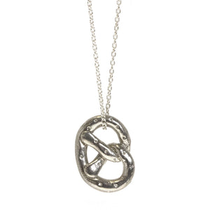 Pretzel Sterling Silver Charm Necklace