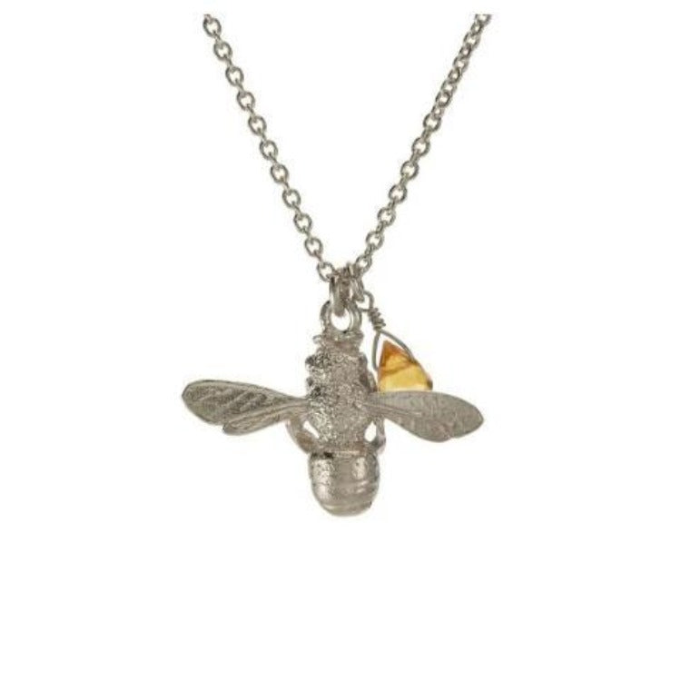 Silver bee and citrine necklace by Alex Monroe