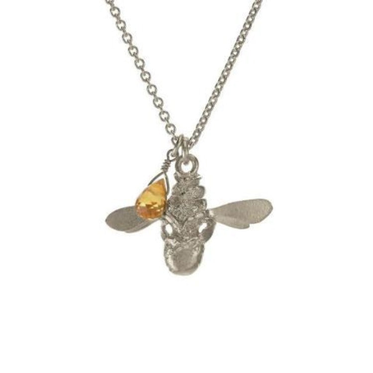 Silver bee and citrine pendant necklace by Alex Monroe