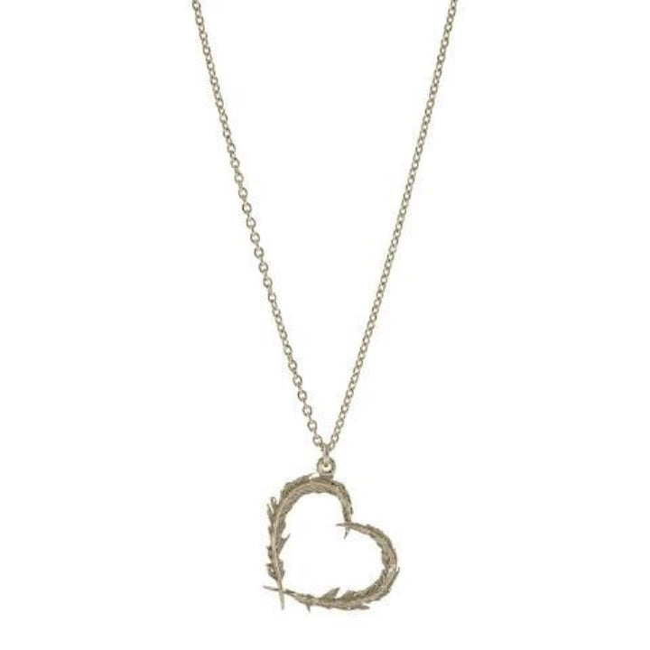 Delicate feather heart necklace by Alex Monroe