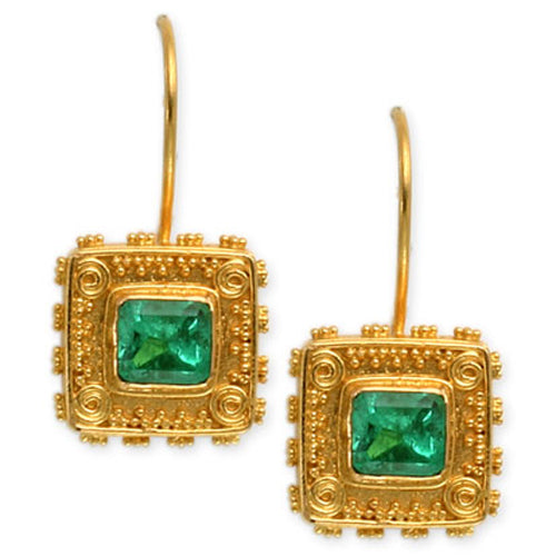 Emerald box earrings by Steven Battelle