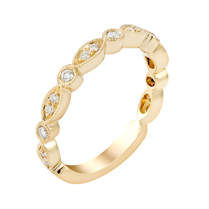 Yellow Gold Diamond Band with Milgrain
