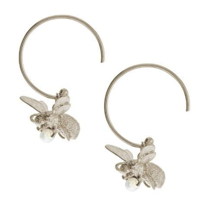 Flying bee silver hoop earrings by Alex Monroe