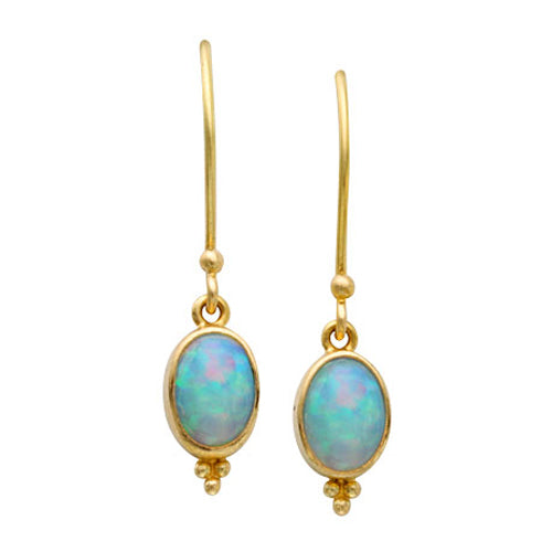 Gold opal dangle earrings by Steven Battelle