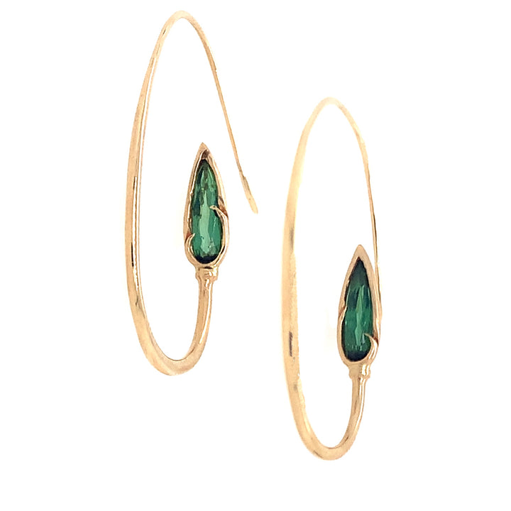 Elegant drop earrings call up memories of sunlight streaming through leaves during high summer, yet the classic gold 18 karat yellow gold and pear shaped green tourmaline, drop earrings.