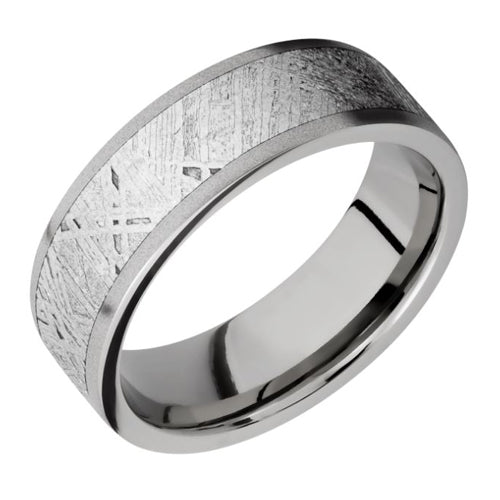 Lashbrook titanium and meteorite inlay band