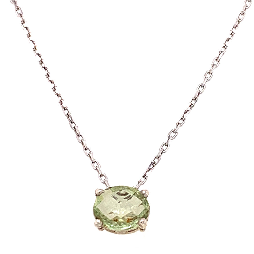 Light Green Rose-Cut Montana Sapphire Necklace
