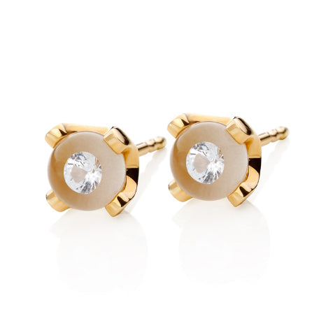 Markus Schmidt Diamond in Glass 18k Yellow Gold Earrings