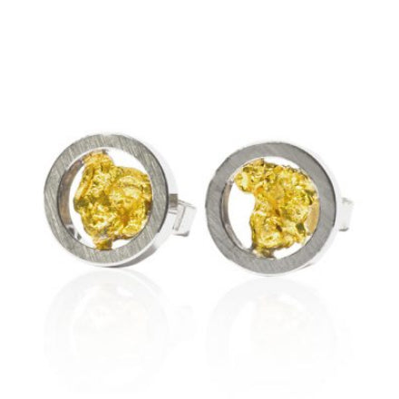 Markus Schmidt Steel & Gold Nugget Earrings