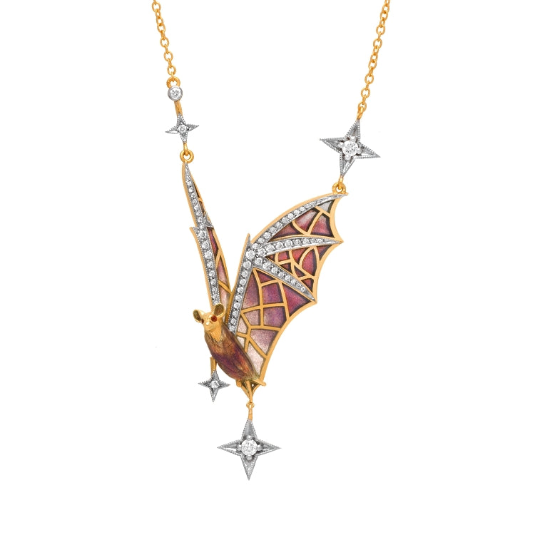 Masriera Flight At Night Art Nouveau Plique-à-Jour Enamel and Diamond Pendant