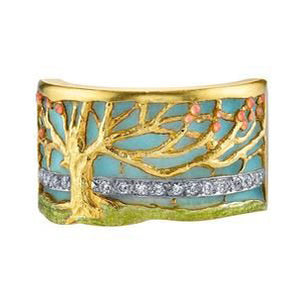 Masriera Art Nouveau Enamel Tree of Life Ring