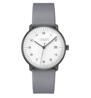 max bill Automatic model watch by Junghans has stainless steel housing with grey calf leather strap