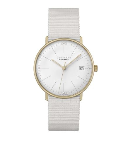white matte gold bezel watch with textile strap by Junghans