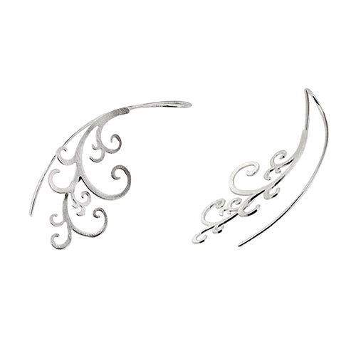 Meral Sartekin Silver Scrollwork Wire Earrings
