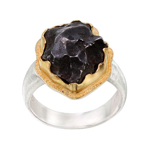 Meteorite Ring in Gold Bezel