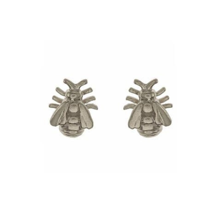 Mini silver bee stud earrings by alex monroe