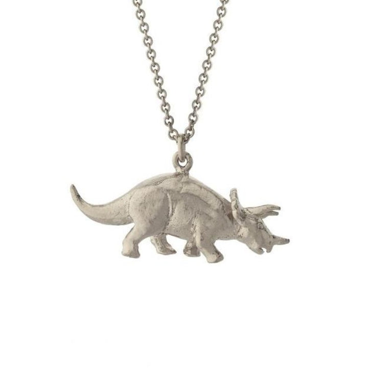 Silver triceratops pendant necklace by alex monroe