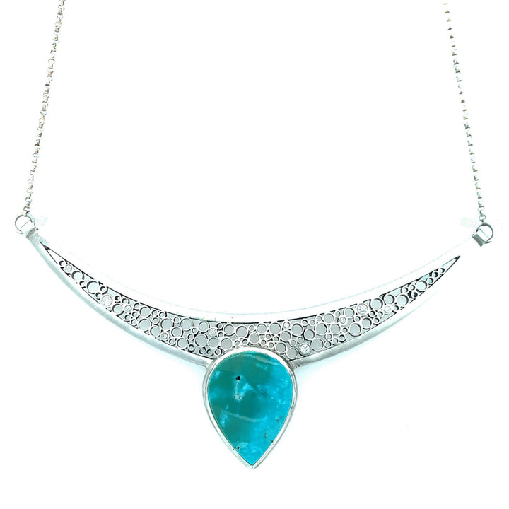 """Crescent Moon"" Turquoise & Diamond Necklace"