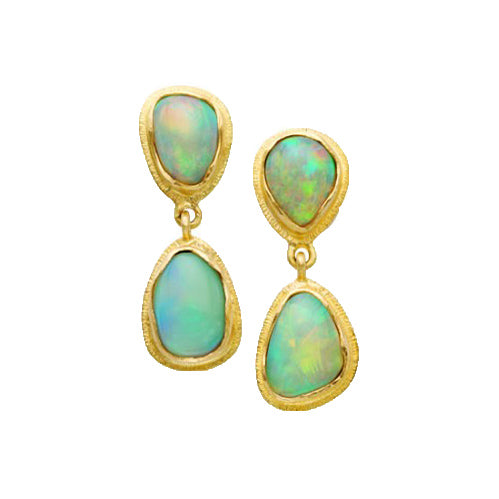 Steven Battelle bezel-set opal stud earrings