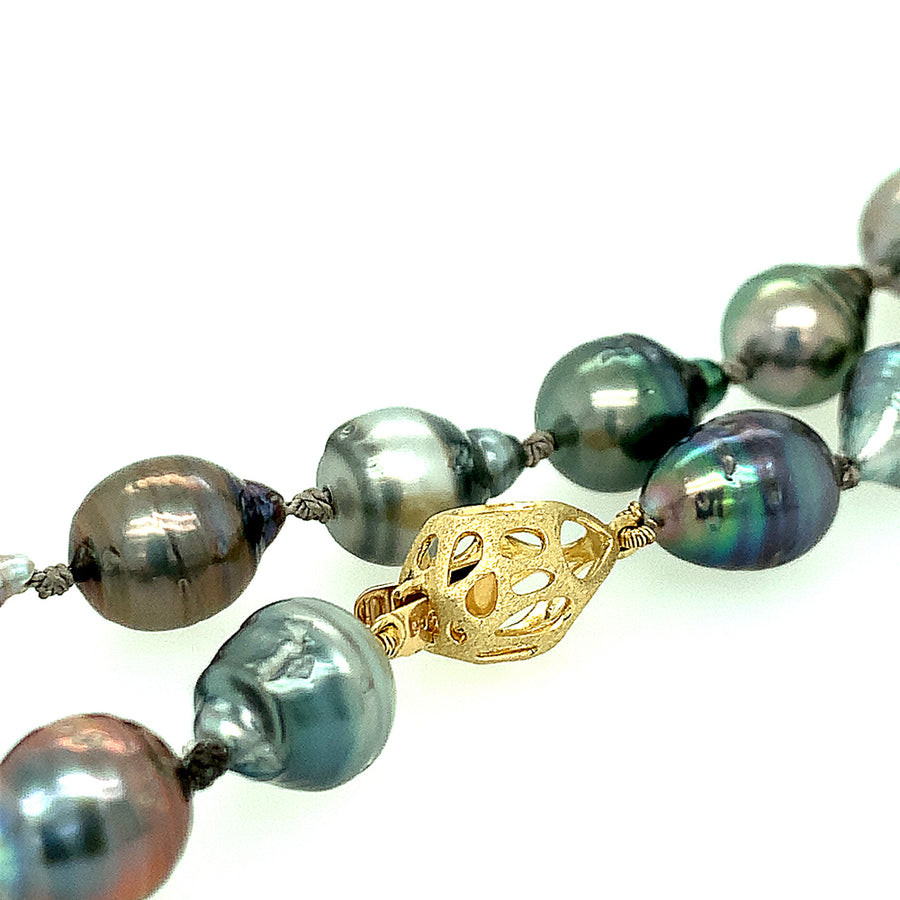 Peacock Tahitian Pearl Necklace with Mosaic Clasp