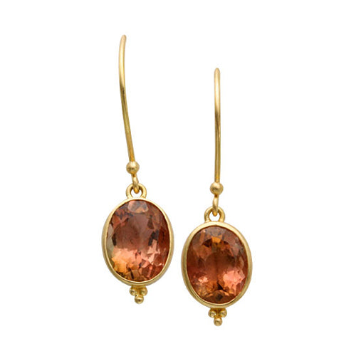 Pink tourmaline oval dangle earrings by Steven Battelle