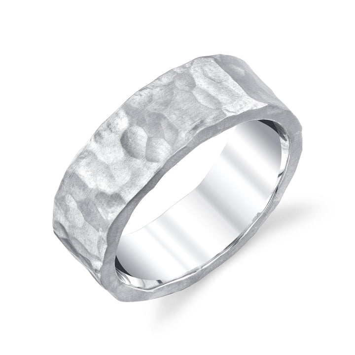 Heavily hammered band in sterling silver