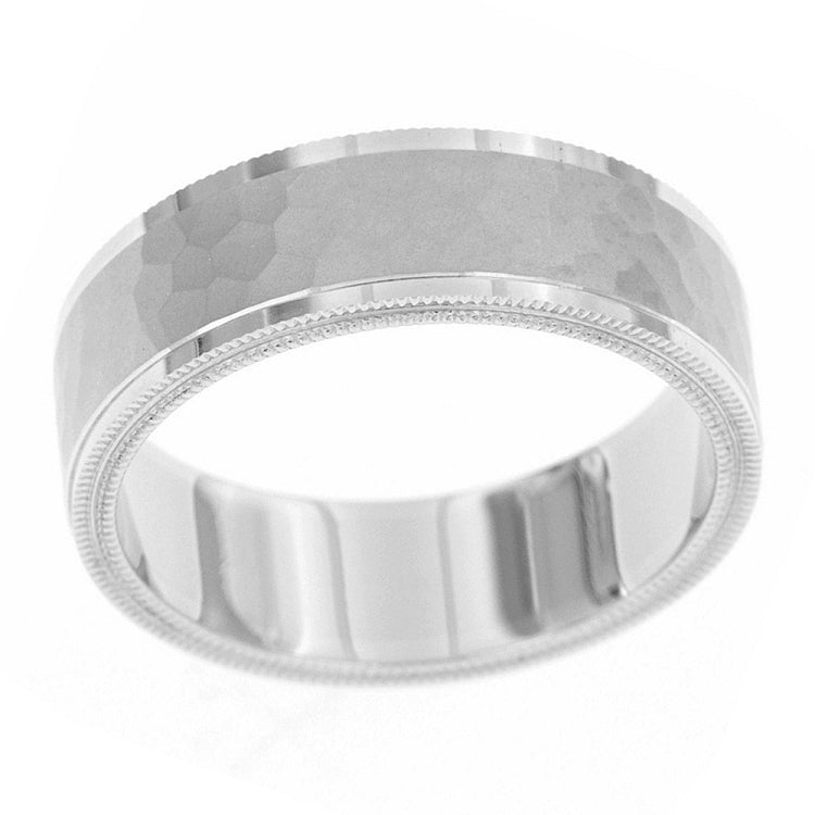 Coin edge band with polished edges and hammered center in sterling silver