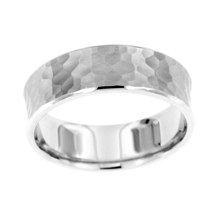 Raised edge hammered band in sterling silver