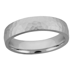 Domed hammered band in sterling silver