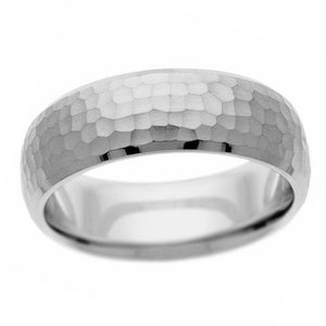Beveled edge hammered band in sterling silver