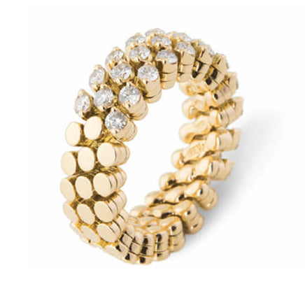 Serafino Consoli Brevetto Multisize Ring in Yellow Gold with Three Rows of Diamonds