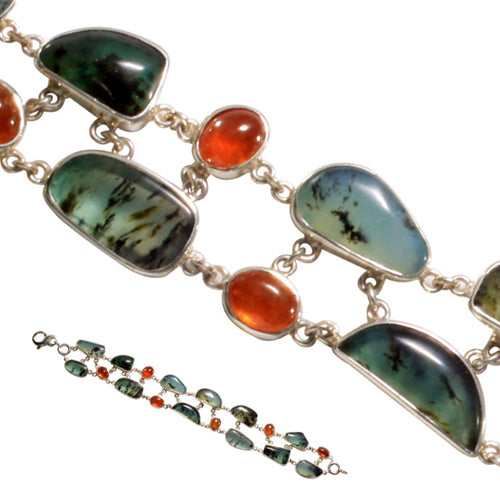 Spessartite and Peruvian opal bracelet by Steven Battelle