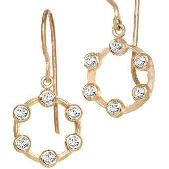 Suzy Landa Diamond Mini Hoopla Circle Drop Earrings