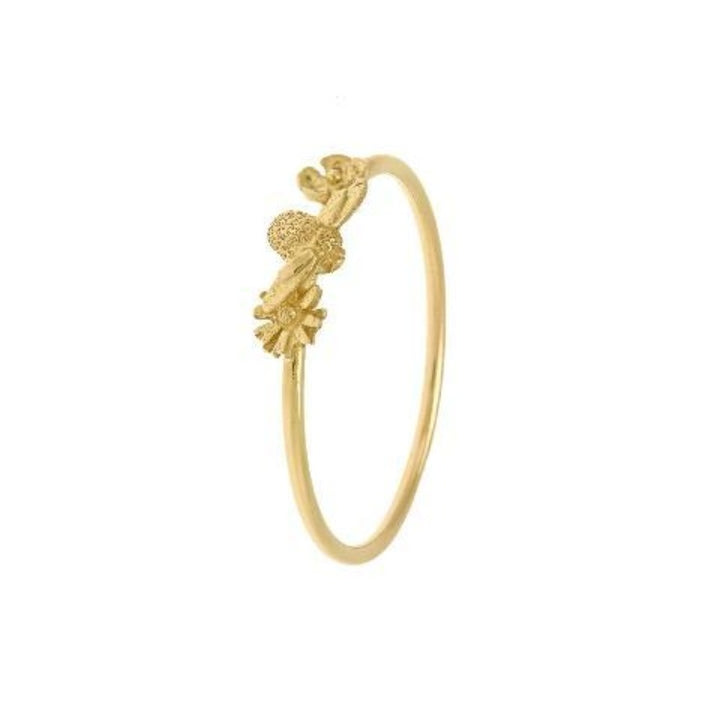 Fine Gold Floral Bee Ring by Alex Monroe