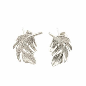 Silver Realistic Feather Stud Earrings by Alex Monroe