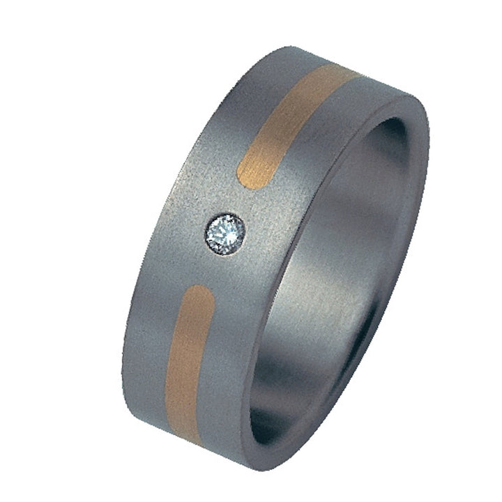 Titanium Diamond Ring with Gold Inlay