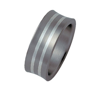 Titanium Ring with Silver Inlay