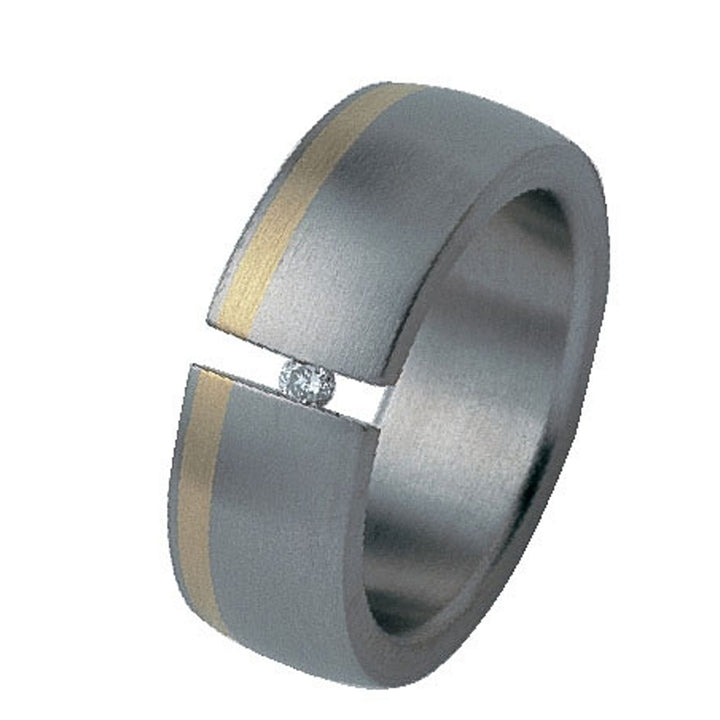 Titanium Tension Set Diamond Ring with Offset 24K Yellow Gold Inlay