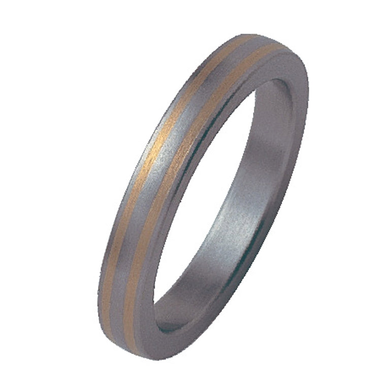 Titanium Band with Yellow Gold Inlay