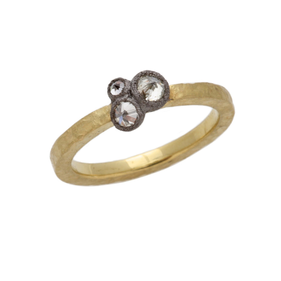Inverted Three Diamond Cluster Ring in Yellow Gold by Todd Pownell