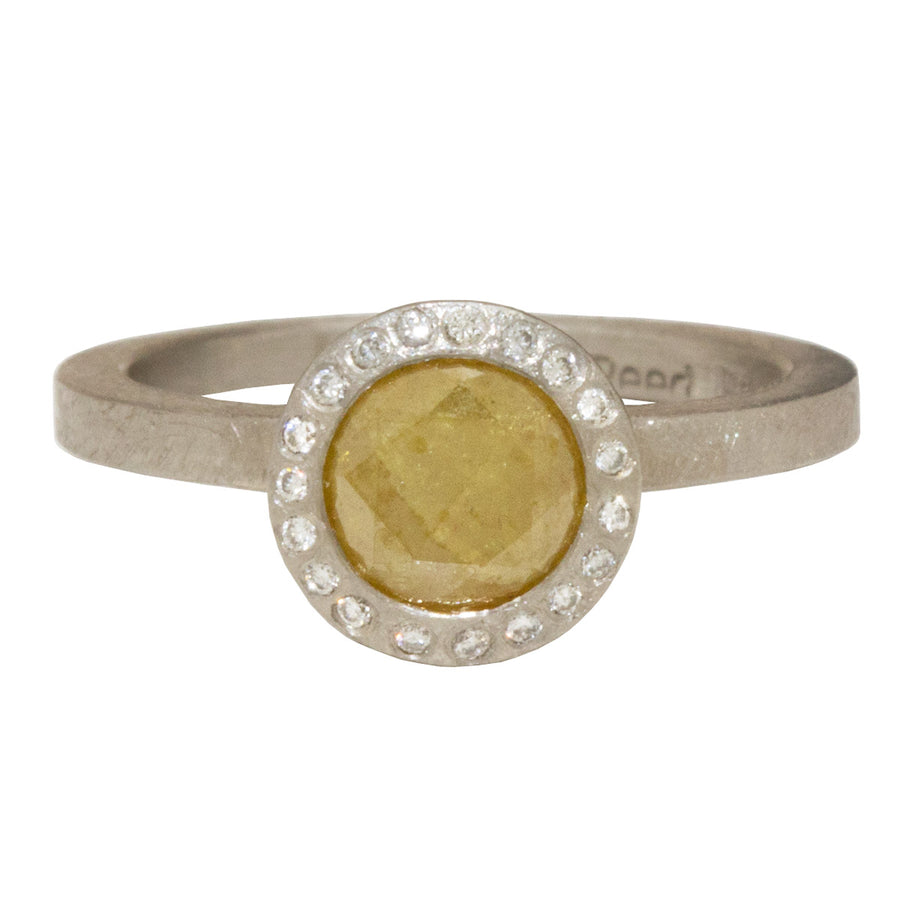 Rustic Style Rose Cut Yellow Diamond Halo Engagement Ring by Todd Reed