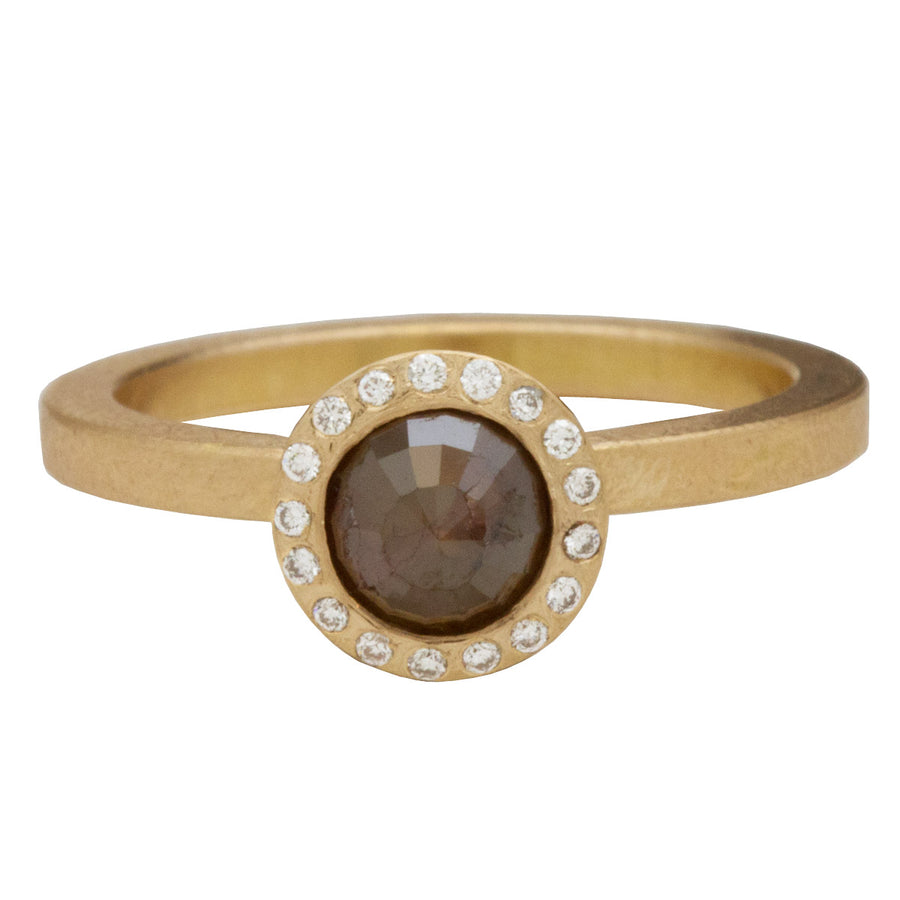 Cognac Brown Diamond Halo Engagement Ring in Rose Gold by Todd Reed
