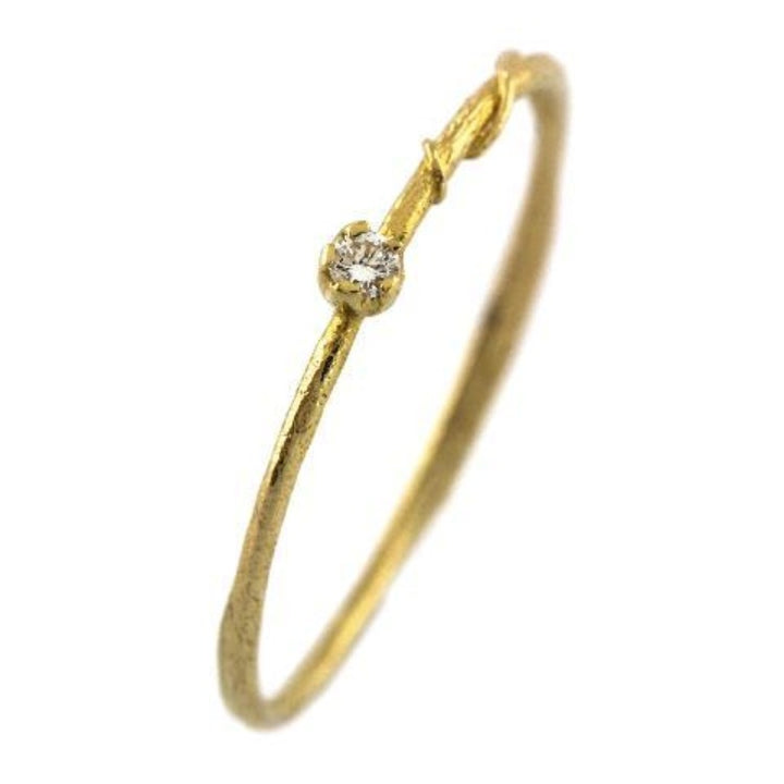 Thin Yellow Gold Band with Vine Botanical Detail and Diamond by Alex Monroe