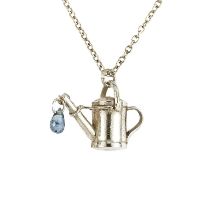 Silver watering can necklace with sapphire water drop by Alex Monroe