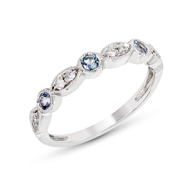 Blue Topaz and Diamond Stackable Ring
