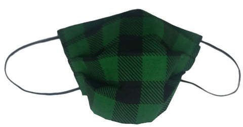Green And Black Plaid Facemask