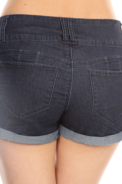 Solid Wash Jean Shorts