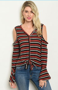 Cold Shoulder Brick Black Striped Top