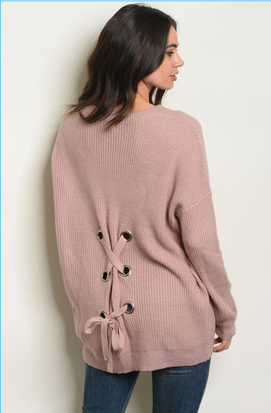 Criss Cross Laceup Back Sweater