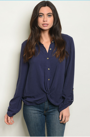 Gathered Front Button-Up Blouse